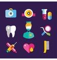 Dental icons set clinic logo vector image