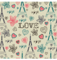 Vintage Love Paris Pattern vector image