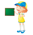 girl showing board vector image vector image