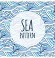 Blue waves repeating background Doodle sea vector image