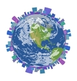 City on Planet Earth Isolated vector image