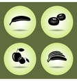 Food fruits set Banana mandarin apple icons vector image