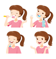 Girl Cleaning Teeth Set vector image