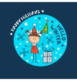 girl in a winter cap Christmas Holidays vector image