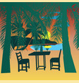 Tropical beach at sunset sunset view poster vector image