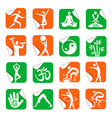 Stickers with yoga spa fitness icons vector image