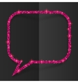 Pink glitter speech bubble frame isolated on black vector image vector image