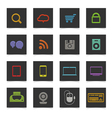 Black buttons with color icons vector image