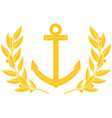 Gold anchor and laurel wreath vector image