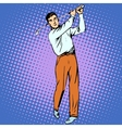 Handsome man playing Golf retro style pop art vector image