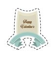 happy valentines day card blue ribbon cut line vector image