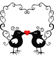 ornamental loving birds vector image