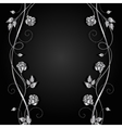 Silver flowers with shadow on dark background vector image