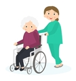 Disabled old woman Handicapped senior woman in a vector image