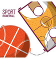 basketball play game with ball and field vector image