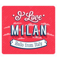 vintage greeting card from milan vector image