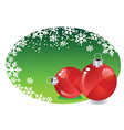Christmas baubles in frame vector image vector image