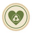 emblem green heart with ecolgy symbol vector image