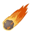 Flame meteorite icon in cartoon style isolated on vector image