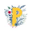 floral alphabet letter p vector image