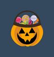 Halloween pumpkin and candies vector image