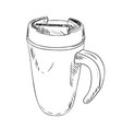 sketch of thermo cup with handle vector image