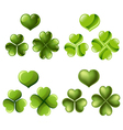 Three and four leaf clover set vector image