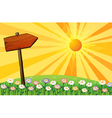 A sunset with a wooden arrow board vector image vector image