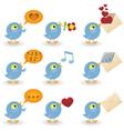 cartoon birds icon set vector image