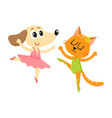 dog and cat puppy and kitten characters dancing vector image