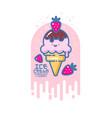 kawaii smiled ice cream vector image