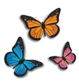 Monarch butterfly bllue orange and pink vector image