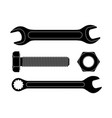 wrench set with bolt screw and nut black icons vector image