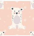 Seamless Merry Christmas pattern with polar bear vector image
