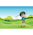 A boy playing golf vector image