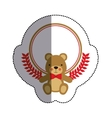 color sticker circle with teddy bear with bow tie vector image