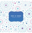 Blue abstract line art circles frame seamless vector image