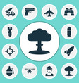 battle icons set collection of rocket bombshell vector image