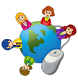 Ladies around the globe with a computer mouse vector image vector image