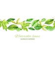 Horizontal seamless background with green leaves vector image
