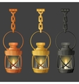 Set of metal lamps or lanterns holding on chain vector image