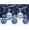 Blue and White Xmas Balls3 vector image