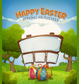 Easter holidays and spring landscape with sign vector image