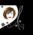 girl face on black and white background vector image