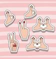 hands sticker set gesture on pop art linear color vector image
