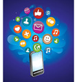 phone with bright social media icons - vector image