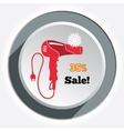 Professional red blow hairdryer and two-pin plug vector image