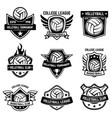 set of volleyball sport emblems design element vector image