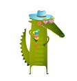 Funky Party Cocktail Crocodile Wearing Hat vector image vector image