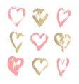 brush stroke sketch drawing of hearts shape set to vector image vector image